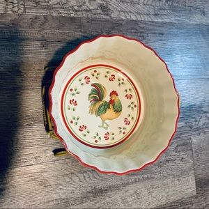 Royal Doulton Rooster Serving Bowl In Wire Stand
